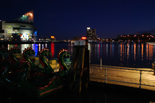 Baltimore Habor at Night Photo: aarondn93, used under Creative Commons License (By 2.0)