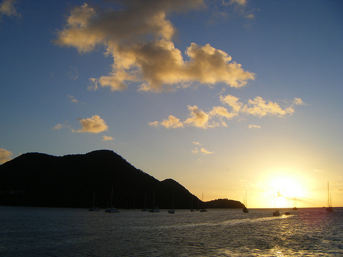 St. Lucia Sunset. Photo: D G Brown, used under Creative Commons License (By 2.0)