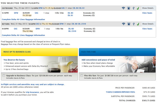 Here's a screenshot at fare confirmation where Delta is selling E (or Basic Economy) fare to GIG - Rio de Janeiro