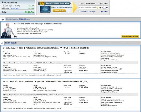 Airfare Deal United Philadelphia Portland Seattle