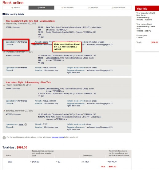 Make sure the booking class is R. If it is V, it will not earn any miles.