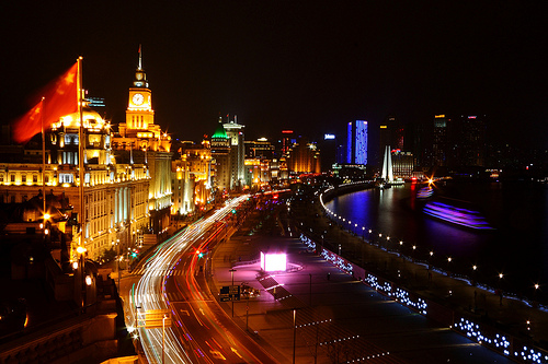 View of the Bund at Night, Shanghai, China - Photo: trioptikmal, used under Creative Commons License (By 2.0)