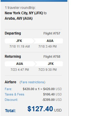 $128 to Aruba!!!