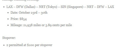 Sample Stopover Information