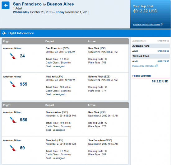 Airfare Deal – American: San Francisco – Buenos Aires, Argentina. $913. Roundtrip, including all Taxes
