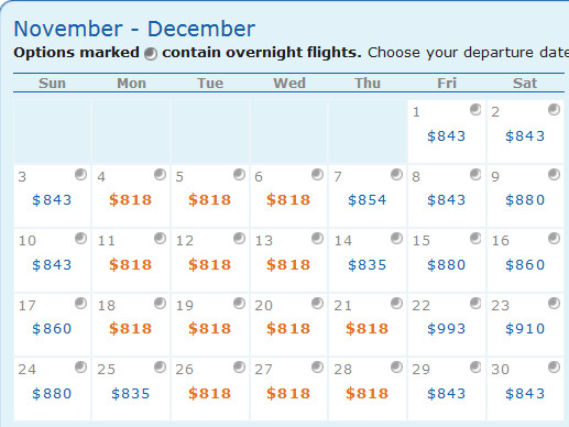 Very good availability for a roundtrip at $818