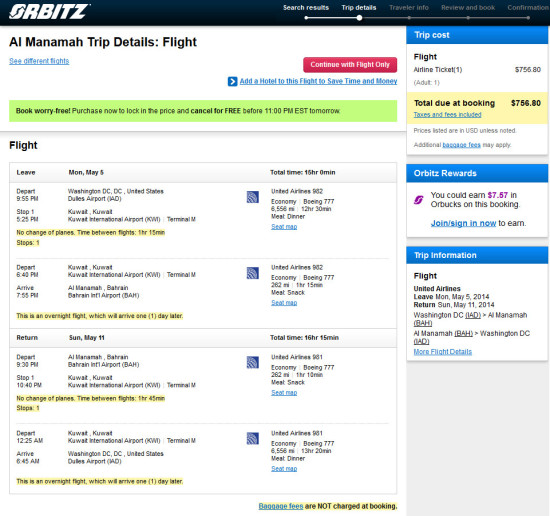 The Flight Deal | United – $757: Washington D C  – Manama