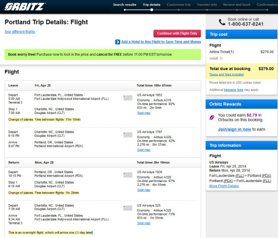 US Airways – $279: Fort Lauderdale