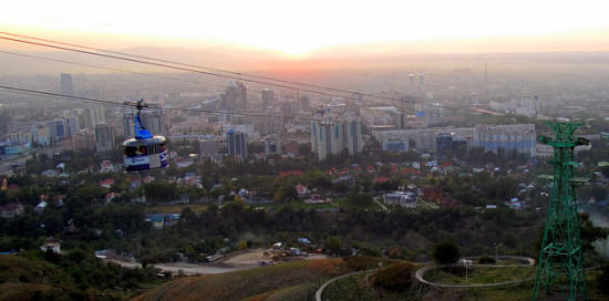 View of Almaty, Kazakhstan from Green Hill - Photo: peretzp, used under Creative Commons License (By 2.0)