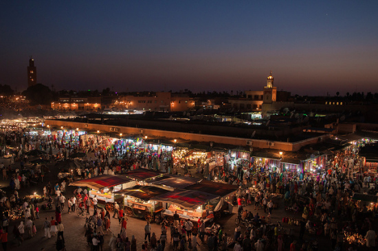 Jemaa el-Fnaa, Marrakech, Morocco - Photo: Jorge Láscar via Flickr, used under Creative Commons License (By 2.0)