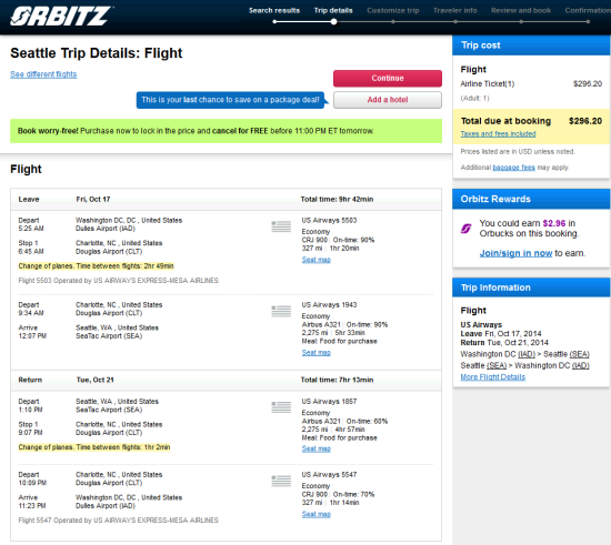 The Flight Deal Us Airways 296 Washington D C
