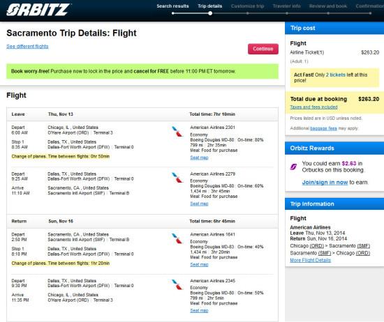 American / US Airways – $263: Chicago