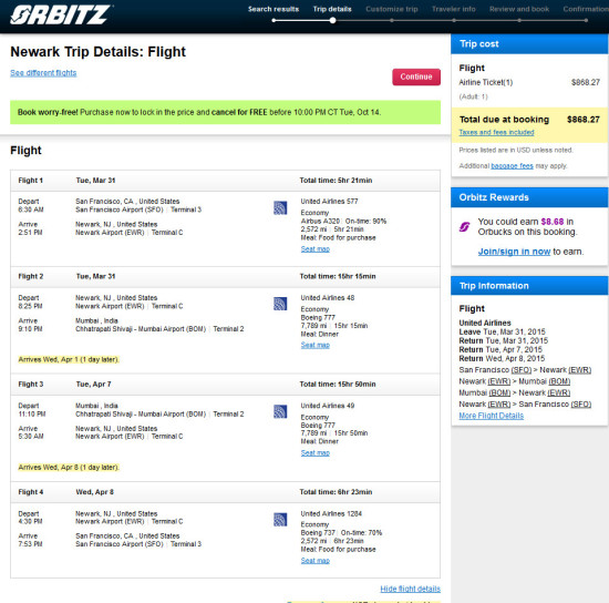 United – $868: San Francisco – Mumbai
