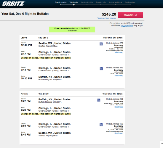 United / American – $245: Seattle