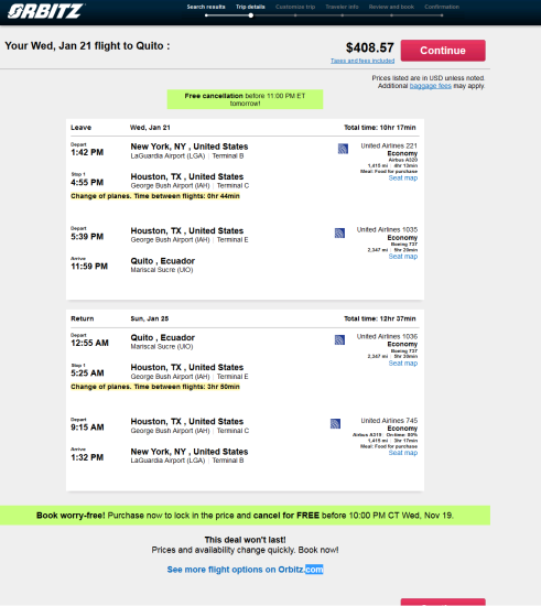 The Flight Deal United 409 New York Quito Ecuador