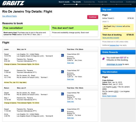 The Flight Deal Copa 737 Los Angeles Rio De