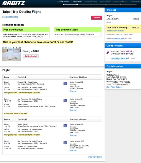 United – $826: Phoenix – Taipei, Taiwan