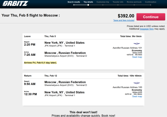 Aeroflot for $392 roundtrip.