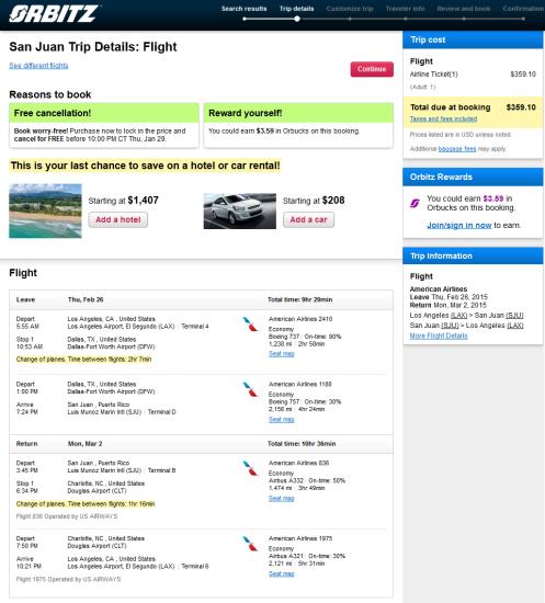 American / US Airways – $359: Los