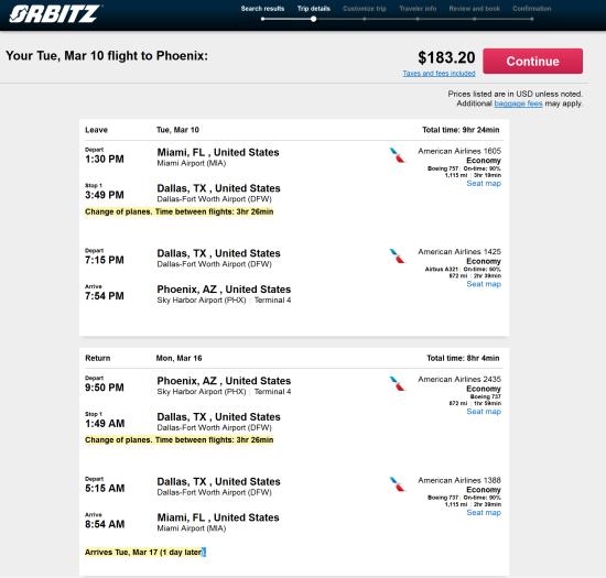 American – $183: Miami – Phoenix (and