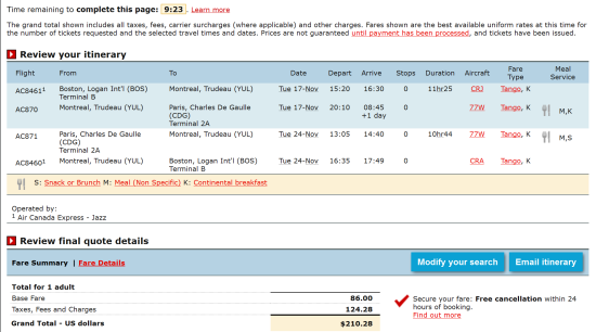 The Flight Deal Fare Gone Air Canada Starting At