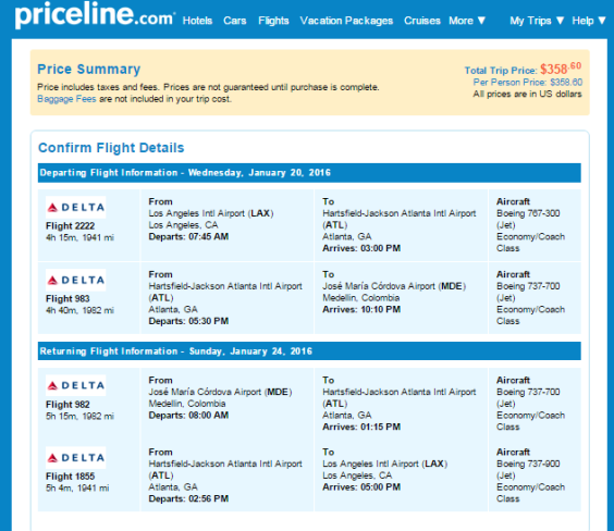 Delta – $359: Los Angeles – Medellin, Colombia. Roundtrip, including all Taxes