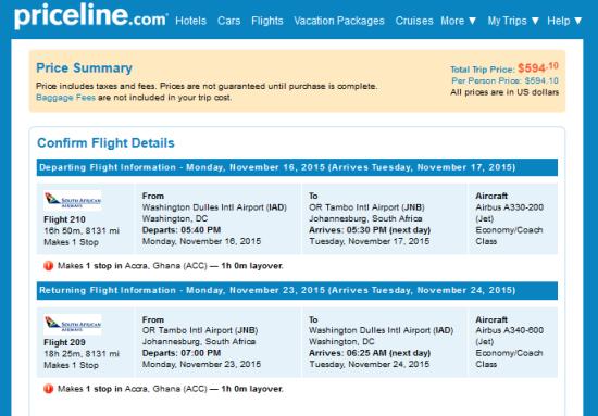 DC to Johannesburg. $594