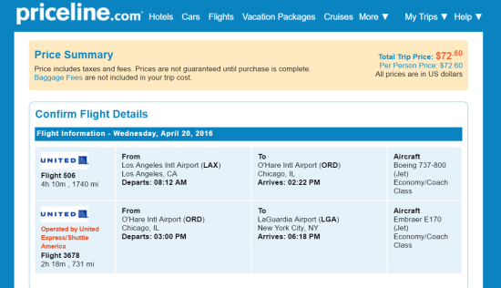 One Way: Los Angeles - New York. $72.