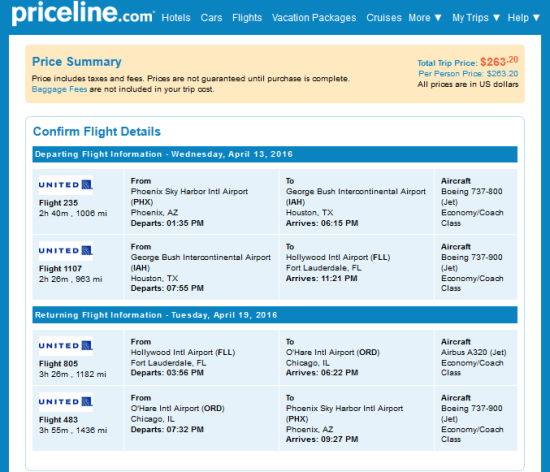 United – $263: Phoenix – Fort Lauderdale