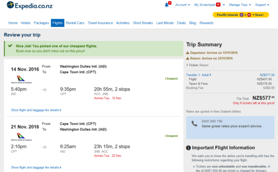 DC - Cape Town for $577 New Zealand Dollars