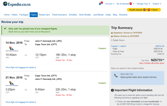 New York - Cape Town for $772 New Zealand Dollars