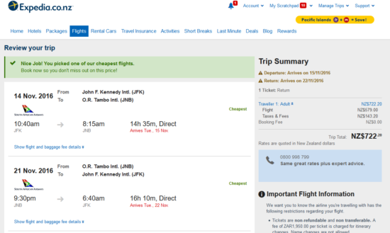 New York - Johannesburg for $722 New Zealand Dollars