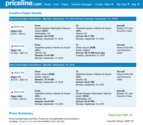 Washington D.C. - Dublin for $308