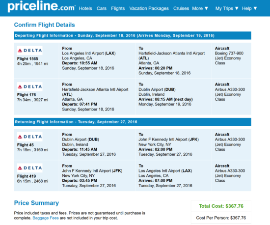 Los Angeles to Dublin for $368