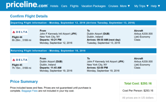Amazing::- JFK - Dublin for $293