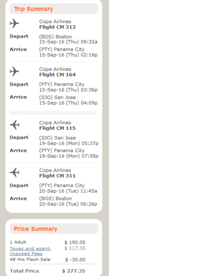The Flight Deal Copa 277 Boston San Jose Costa