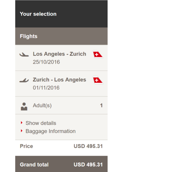 Los Angeles - Zurich for $495