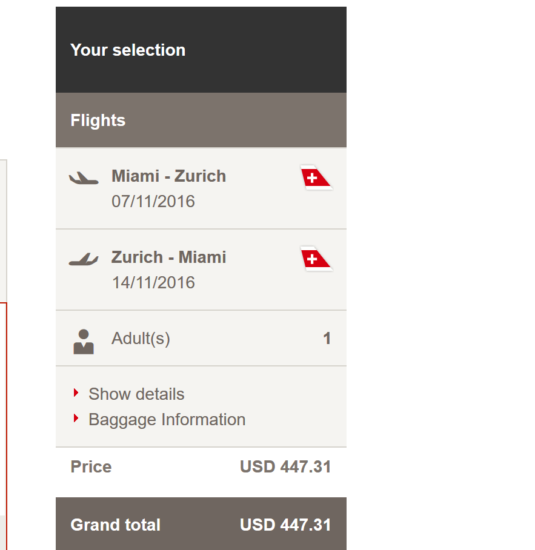 Miami - Zurich for $447