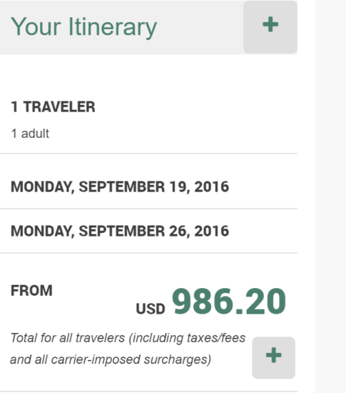 New York - Bangkok for $986