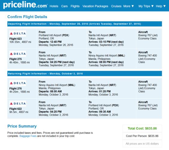 Delta – $636: Portland – Manila, Philippines. Roundtrip, including all Taxes