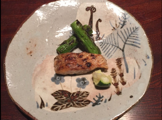 Sea Perch and Asparagus at Ishikawa, Tokyo, Japan - Photo: (C) Kiran Iqbal of WanderlustCrave.com