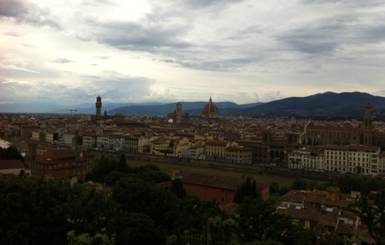 View of Florence from Piazzale Michelangelo. Unfortunately, too cloudy to give Florence justice. Florence, Italy - Photo: (c) 2016 - Varud Gupta of Bicoastal Cooks