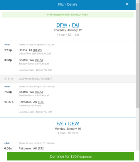 The Flight Deal Alaska Air 357 Dallas Fairbanks