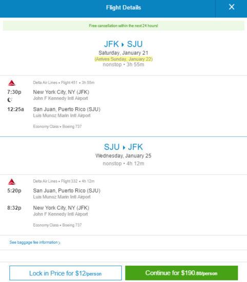 Delta – $191: New York – San Juan