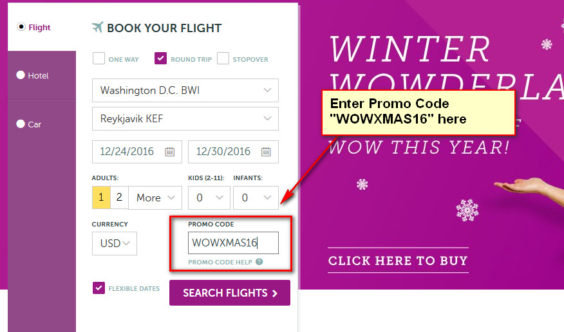 [GONE] WOW Air: 50% off Base Fare for All Flights Worldwide. Expires December 23rd, 2016.