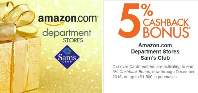 Earn 5% this quarter at Amazon.com Photo: Discover