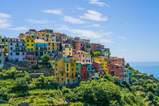 Arriving at Corniglia on the trail from Vernazza, Cinque Terre, Italy.- Photo: (c) Adam Smith