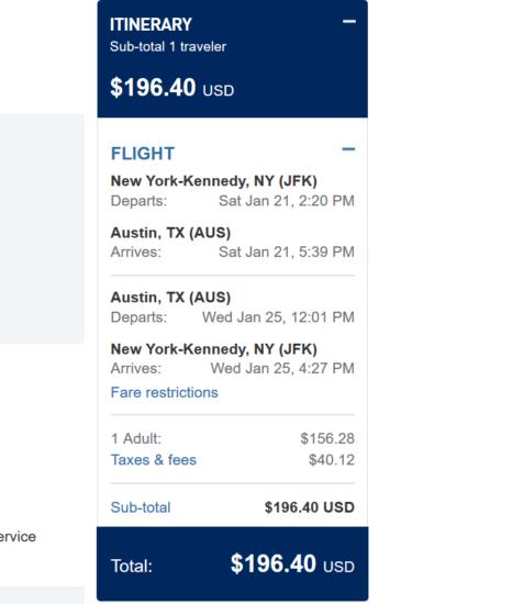 Plane ticket to austin texas