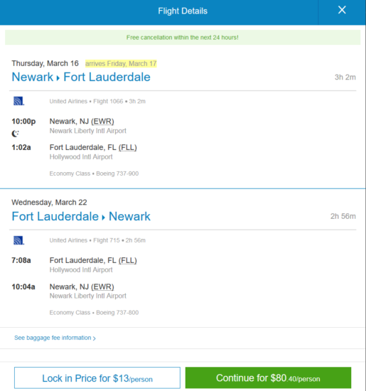United / JetBlue – $80: Newark – Fort