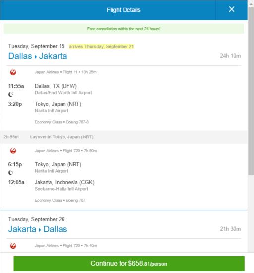 Japan Airlines 659 Dallas Jakarta Indonesia